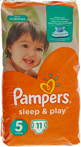 pampers подгузники sleep & play junior (11-18кг) 11шт/уп