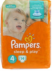 pampers подгузники sleep & play maxi (7-14кг) 14шт/уп